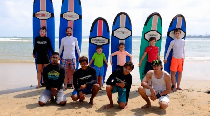 Late February 2018 surfing lesson session.
